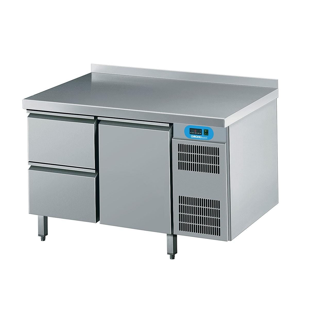 Kühltisch mit 1 Flügeltür und 2 Schubladen 1250 x 700mm CKTEK7211601-2/1 Chromonorm