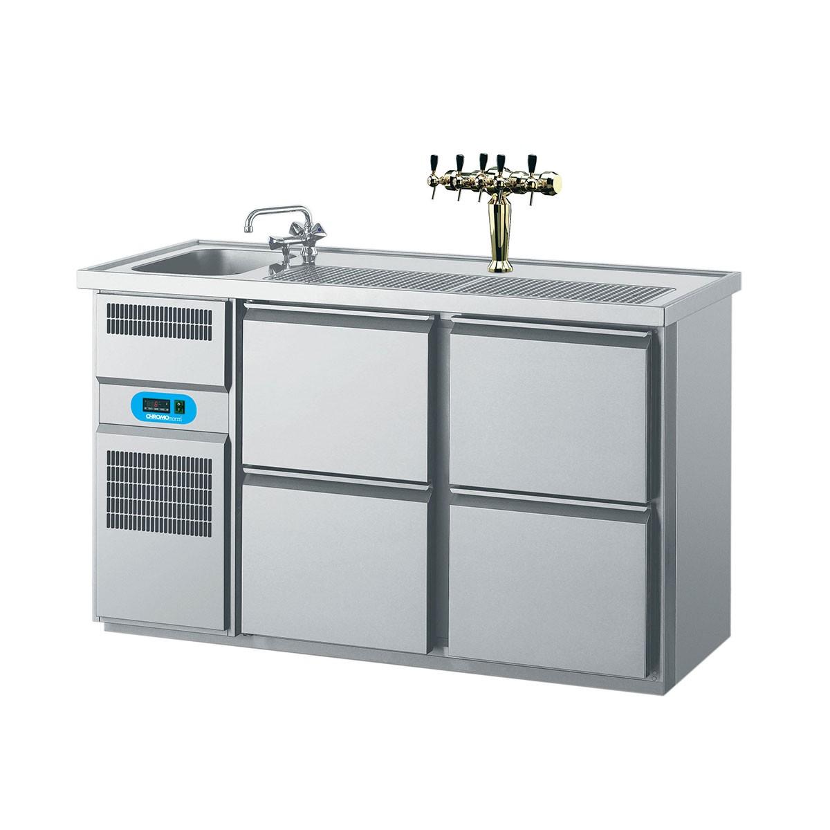 Getränketheke mit 1 Becken links, 4 Schubladen 1550 x 700mm CGTM721L81-2/2 Biertheke Chromonorm