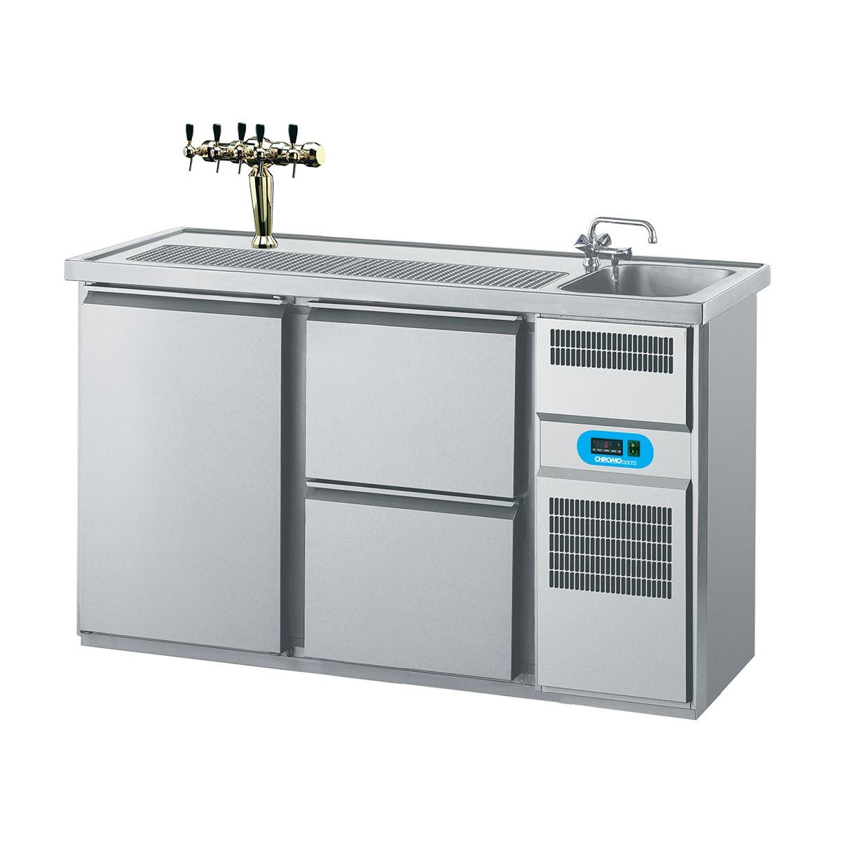 Getränketheke mit 1 Becken rechts, 1 Flügeltür und 2 Schubladen 1550 x 700mm CGTM721R81-1/2 Biertheke Chromonorm