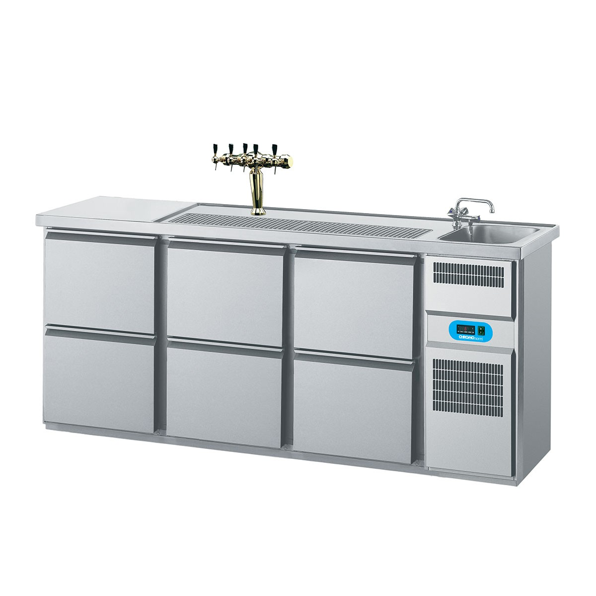 Getränketheke mit 1 Becken rechts, 6 Schubladen 2100 x 700mm CGTM731R81-2/2/2 Biertheke Chromonorm