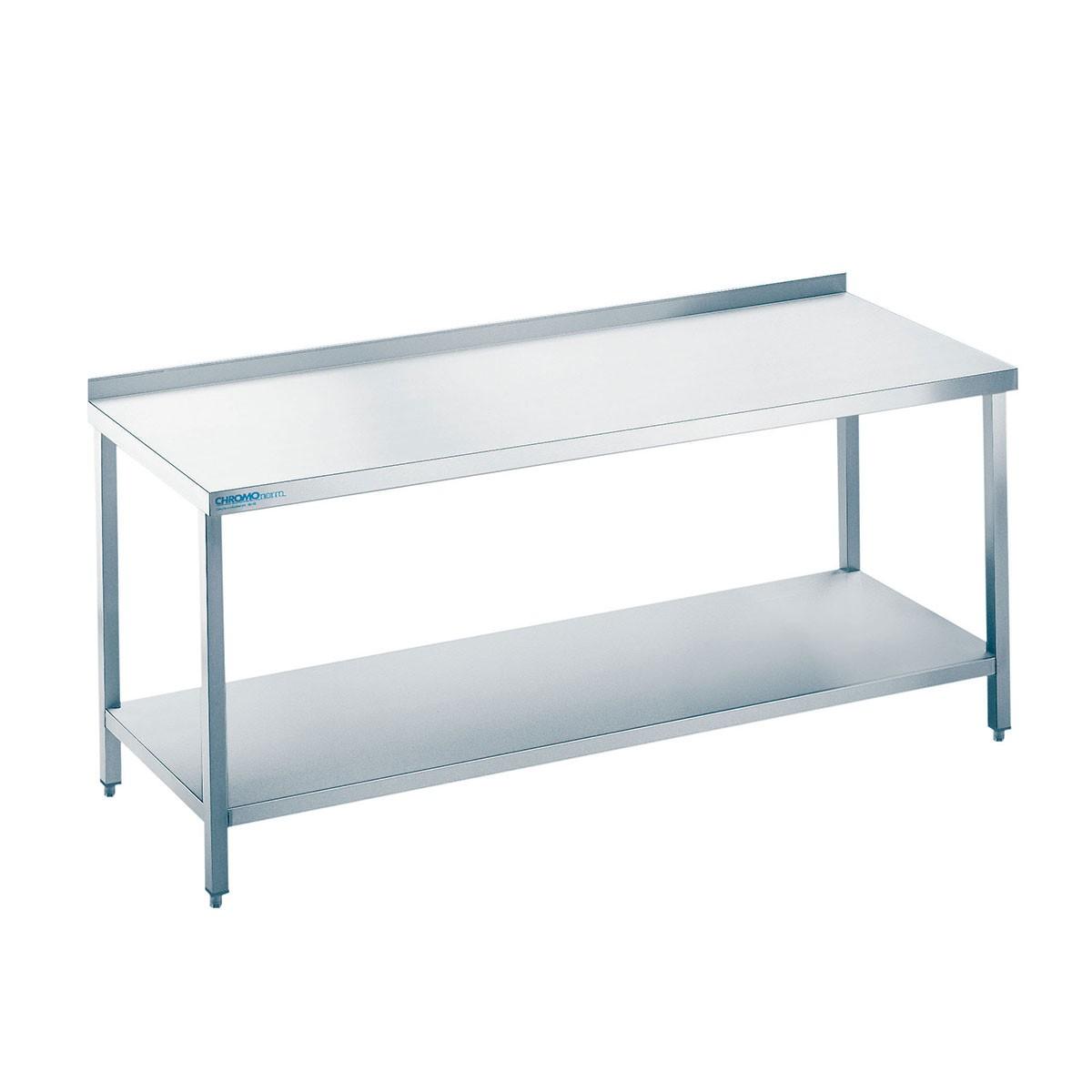Edelstahl Arbeitstisch mit Zwischenboden TZ0714C0000 Chromonorm 700mm x 1400mm