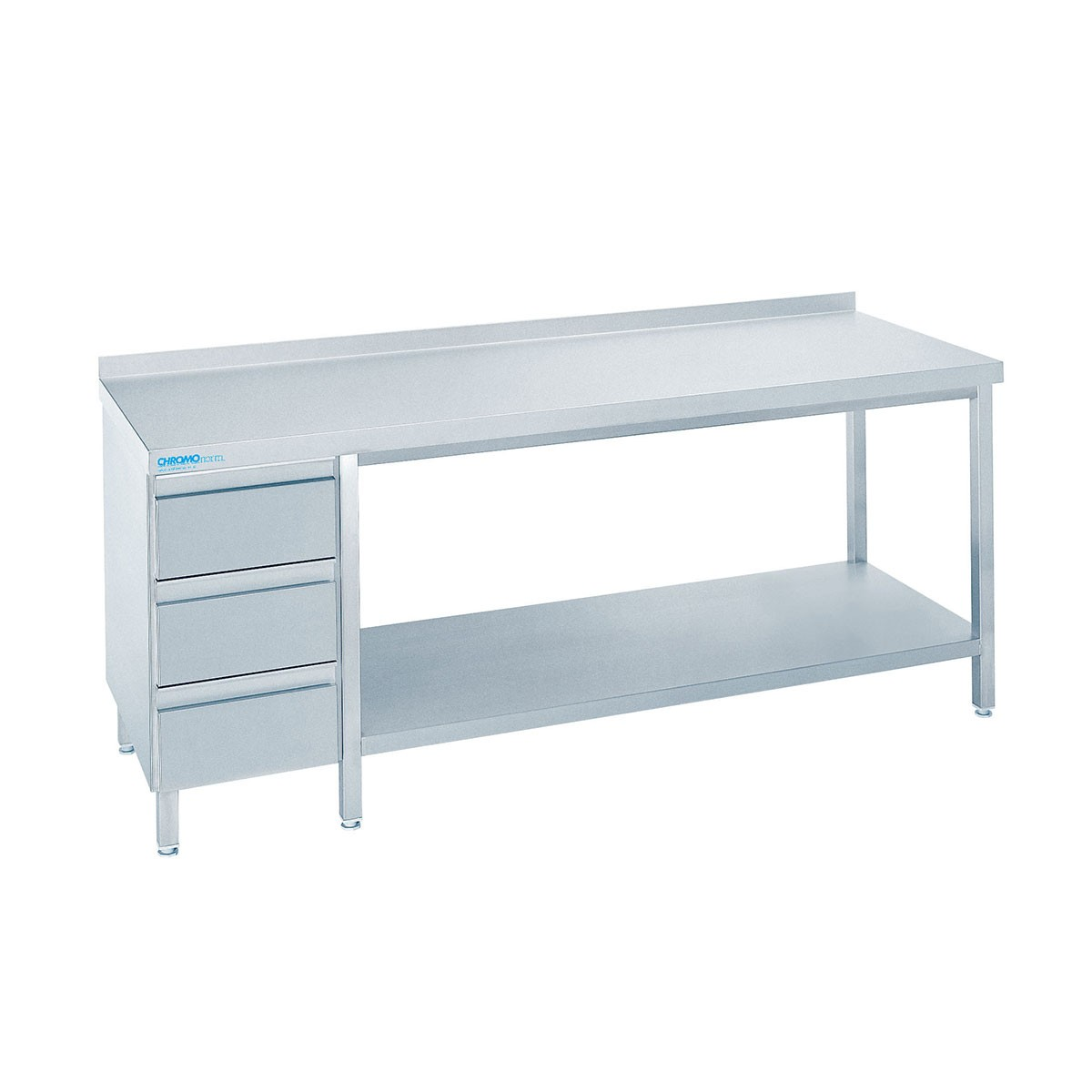 Edelstahl Arbeitstisch mit Schubladenblock TZ0718CS3L0 Chromonorm 700mm x 1800mm