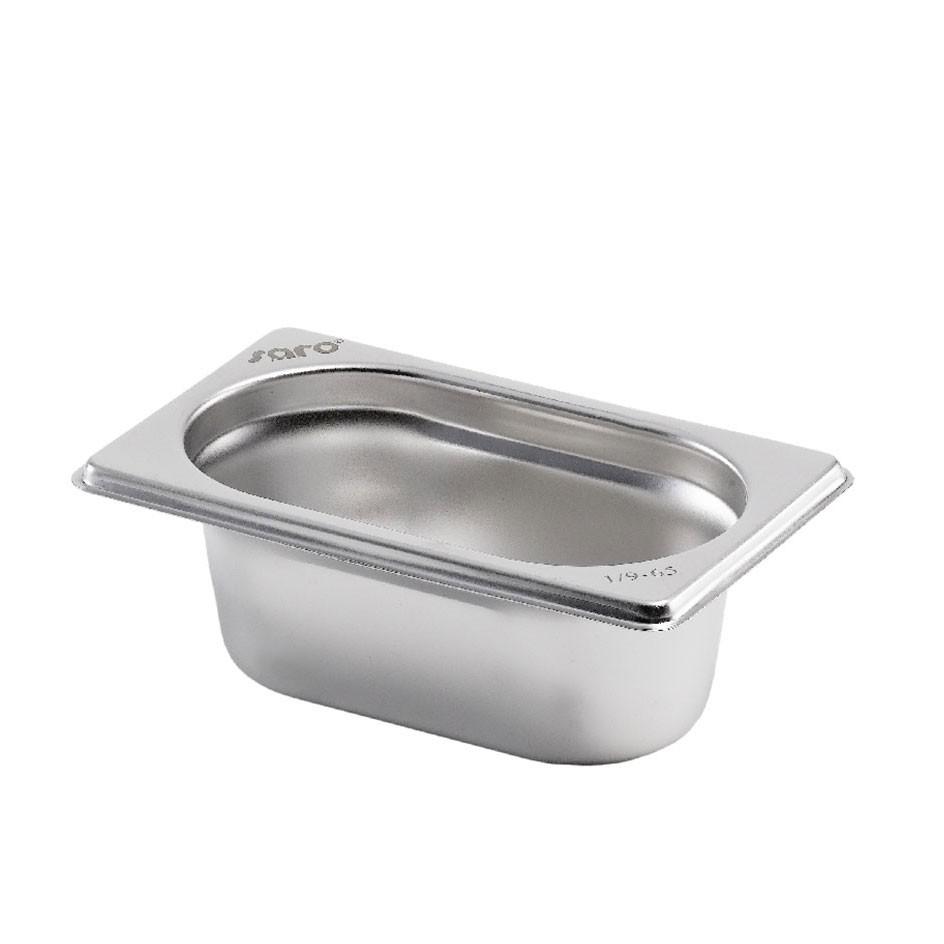 Gastronormbehälter GN 1/9 aus Edelstahl (Tiefe: 65mm) 0,6 L Saro
