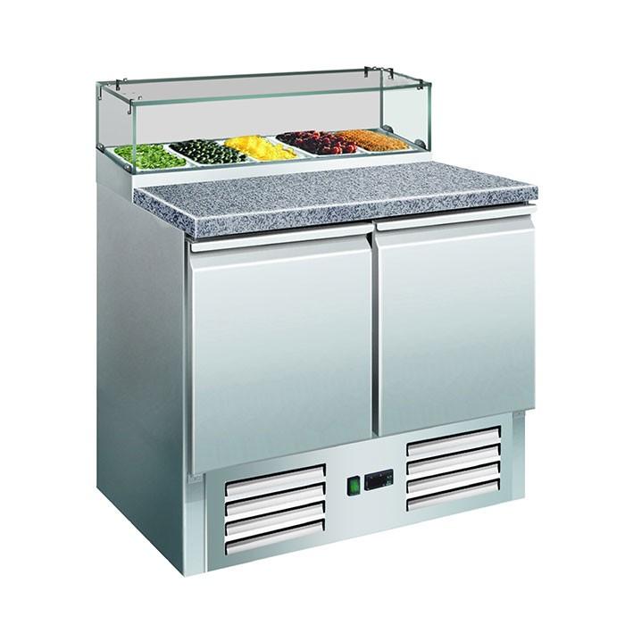 Pizzakühltisch mit Glasaufsatz PS 200 G Saro