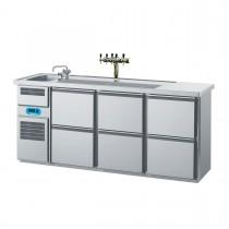 Getränketheke mit 1 Becken links, 6 Schubladen 2100 x 700mm CGTM731L81-2/2/2 Biertheke Chromonorm